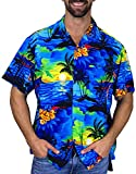 V.H.O. Funky Hawaiian Shirt, Shortsleeve, Surf, Blue, L