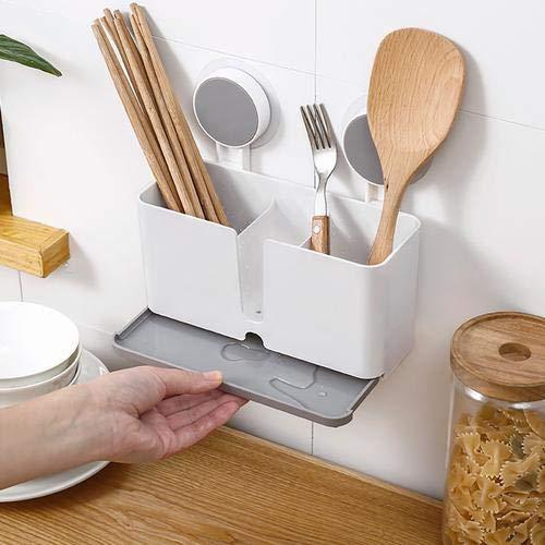 Küchenablage Schwammhalter Spülbecken Organizer Küche Drainer Rack Geschirrkorb zum Aufhängen mit 2 Saugnäpfen für Schwamm, Bürste, Topfkratzer, Essstäbchen