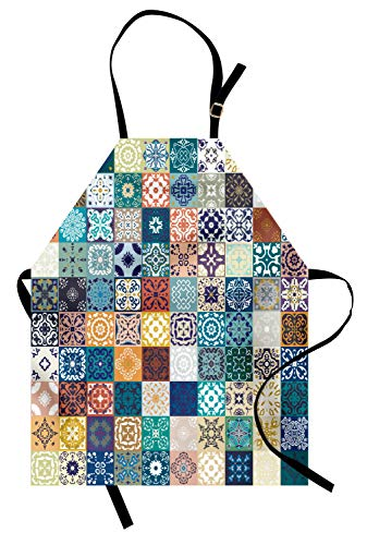 ABAKUHAUS Marroquí Delantal de Cocina, Patrón de Retazos con Dlferentes Flguras Árabes Coloridas Original Arte Tunecino, Los Colores No Destiñen Ajustable Estampa Digital, Multicolor