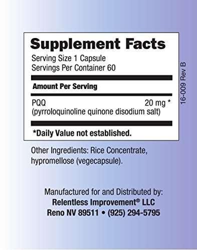 Relentless Improvement PQQ No Silicon Dioxide No Magnesium Stearate No Added Calcium