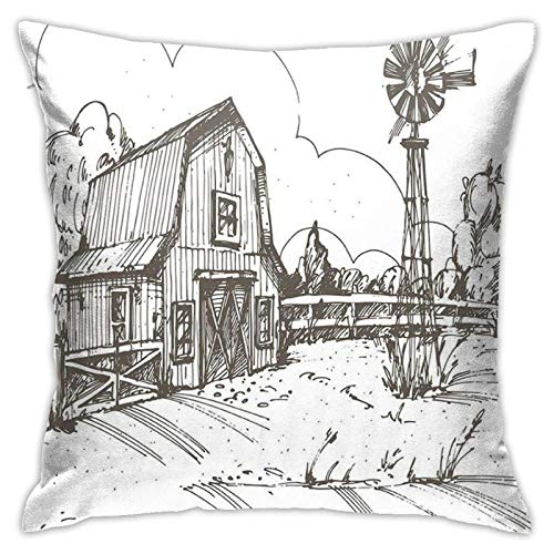 Funda de cojín Throw Cojín Throw Pillow Case Cortina de ducha rústica de la granja Funda de Almohada 45X45CM