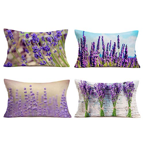 MEHOTOP Cotton Linen Throw Pillow Covers Lavender Cushion Covers Set of 4 Flower Floral Blossom Country Rustic Farmhouse Decorations12x20 Inches (Purple Lavender 1)