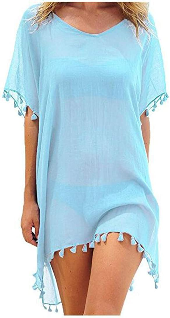 Womens Swimsuit Cover Ups Swimwear Bathing Suits Summer Mini Dress Loose Solid Pareo Sun Protection Clothing (Light Blue)