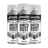 3 x JENOLITE Directorust - Pintura Antioxidante Blanco - óxido Bloqueador - Aplicar Directamente a la Oxidación - Satén Blanco - 400ml
