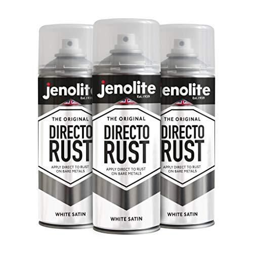 3 x JENOLITE Directorust - Vernice Spray Antiruggine per Metallo - Direttemente sulla ruggine - Bianca - 400ml