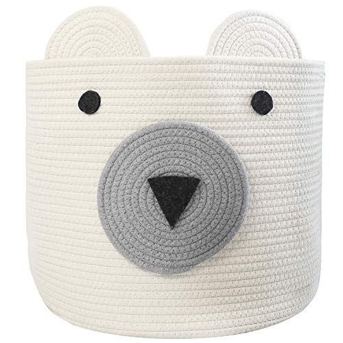 "COMEMORY Cotton Rope Storage Basket with Cute Bear Design Foldable Woven Laundry Basket with Large Capacity Decorative Basket Organizer for Toys, Blanket, Towels, Clothes, 16""(D) x 14""(H)"