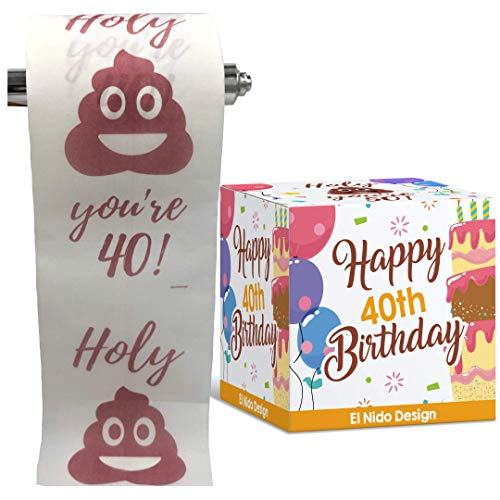 40th Birthday Toilet Paper - Happy birthday toilet paper prank– Funny 40th birthday gifts for men and women– best friend birthday gifts– Novelty Toilet paper roll gag gifts – 3 Ply (40th Birthday)