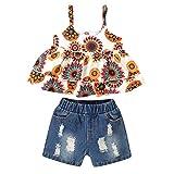 sunnymi - Conjunto de ropa para bebé niña, 0 – 4 años, bebé, niña, bonita, sin mangas, con volantes, tops + pantalones cortos con estampado de flores azul 12-18 Meses