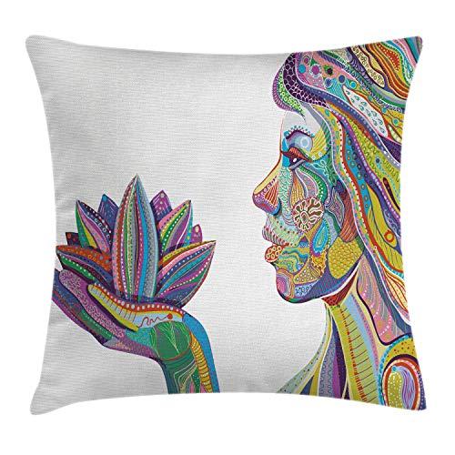 ABAKUHAUS Östlich Kissenbezug, Yoga Haltung in Lotus Blume, 40 x 40 cm, Beidseitiges Digitaldruck mit Reißverschluß Farbfest Pflegeleicht und Waschbar, Multi