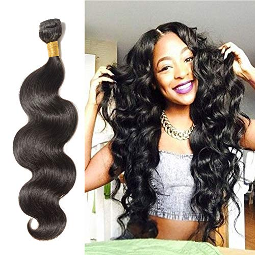 Benehair Human Hair Bundle Body Wave Sew in Brazilian Remy Hair Weave Natural Black 24 inches for Afro American Women #1B 1 Bundle 100g