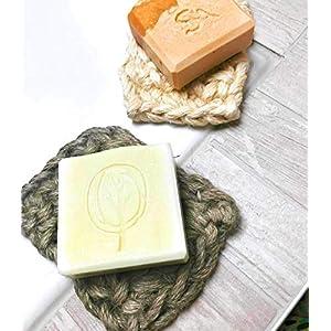 100% Handmade gehäkelt Jute Seifenablage Seifenunterlage Seifenschale Seifenkissen Seifenschoner Nachhaltig Vegan Robust…