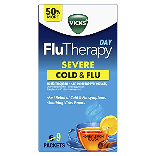 Vicks Flutherapy Severe Cold & Flu Daytime Hot Drink, Honey Lemon, 9 Count
