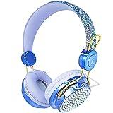 Kids Headphones Wireless Headphones with Adjustable Headband, Over On Ear Headset for Girls Boys Online School Home Learning Gaming (Blue-Wireless Headphones)