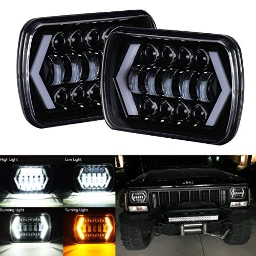 BAOLICY H6054 Led Headlights Dot Approved Conversion Kit 7x6 5x7 Hi/Low Sealed Beam H4 9003 Plug 6054 H5054 Compatible with Chevy S10 Blazer Express Van/Jeep Wrangler YJ XJ Cherokee Truck Ford Van