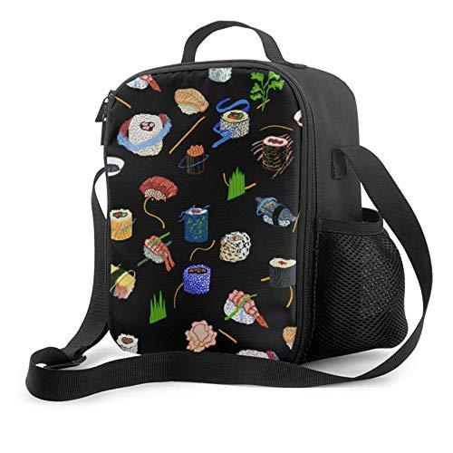 IUBBKII Bolsa de almuerzo con aislamiento Janeither Portable Lunch Bag, Large Capacity Storage Container, Women Men Kids Girls Insulated Tote Bag, Reusable School Outdoor Picnic Handbag With Sushi