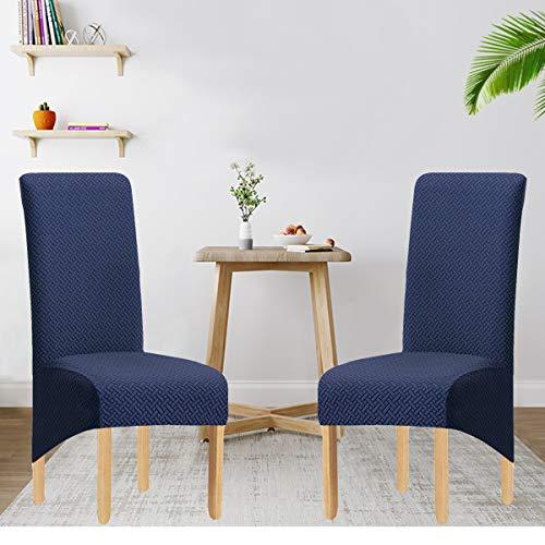 SYJ Twill Jacquard Stretch 2/4/6 Pack XL Stuhlhussen für Esszimmer, Spandex Large Dining Chair Schonbezüge für Home Living Restaurant Hotel (Marine,6 Stück(XL))