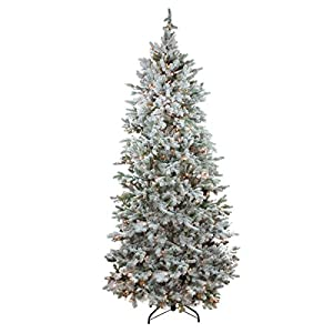 northlight pre-lit flocked slim colorado spruce artificial christmas tree with clear lights, 7.5′ silk flower arrangements