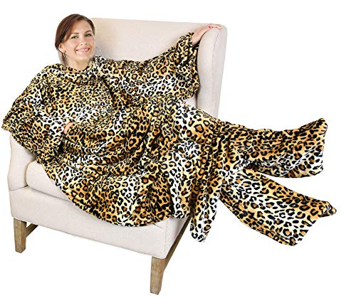 Catalonia Wearable Fleece Blanket with Sleeves and Foot Pockets for Adult Women Men,Micro Plush Comfy Wrap Sleeved Throw Blanket Robe Large,Cheetah