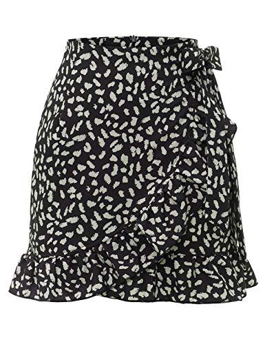 Bbonlinedress Damen Rock Sommerrock kurz Röcke Sommerkleid Mini Skirts Minirock Black Leopard M
