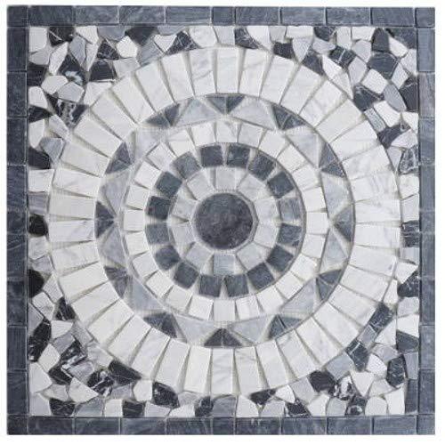 Marmor Rosone 60x60 cm Schwarz Grau Weiss Naturstein Mosaik Einleger Fliesen EM1