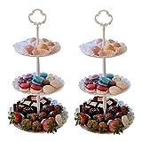 2pcs 3 Tier Dessert Stands Fruit Plates for Wedding Baby Shower Birthday/Tea Party Round