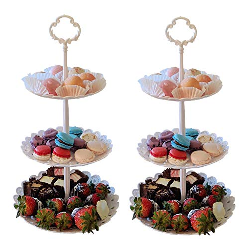 Set of 2 Pieces 3 Tier Dessert Stand Fruit Plate Cupcake Plastic White Cup Cakes Desserts Fruits Candy Buffet Serving Tray Food Display for Wedding Baby Shower Home Birthday Tea Party Decoration Round