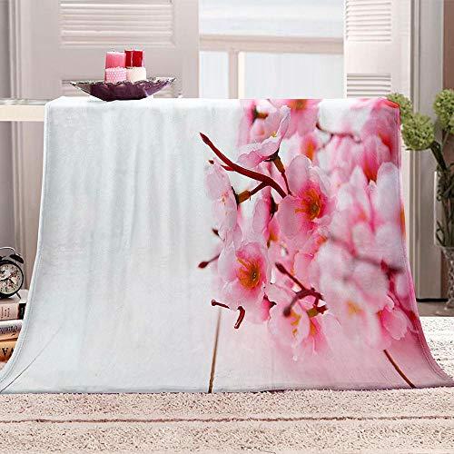 ZZFJFQ Couverture Polaire Super Douce en Flanelle Fleurs Roses 100 % Polyester Peluche Microfibre 130x150cm