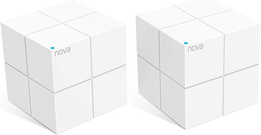Tenda NOVA Whole Home Mesh Router Sistema WiFi de Red Mesh Banda Dual Cobertura hasta 350m², Wave 2 802.11AC, MU-MIMO, Beamforming, Parent Control, Funciona con Alexa (MW6 2pack)