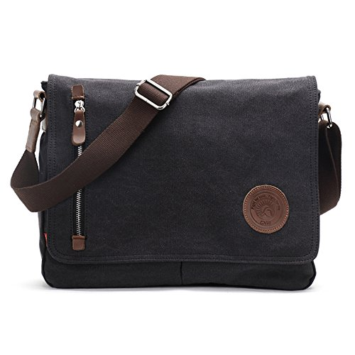 Shoulder Bags, Laxier(TM) Crossbody Casual Handbag Vintage Canvas Messenger Bags for Men and Women (Black)