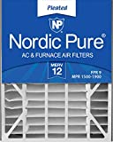 Nordic Pure 20x25x5 MERV 12 Pleated Air Bear 255649-102 Replacement AC Furnace Air Filters 4 Pack