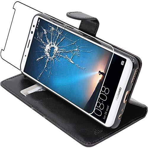 ebestStar - Funda Compatible con Huawei Mate 10 Lite 2017 Carcasa Cartera Cuero PU, Funda Billetera Ranuras Tarjeta, Función Soporte, Negro + Cristal Templado [Aparato: 156.2x75.2x7.5mm 5.9
