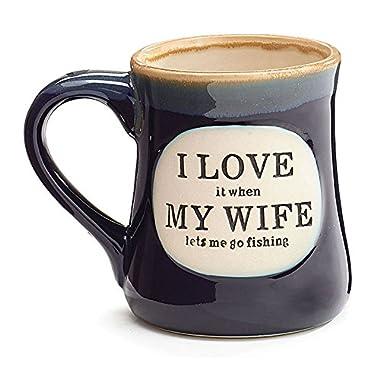 I Love My Wife  Porcelain 18 oz Fishing Coffee Mug Fun Gift for Our Fisherman