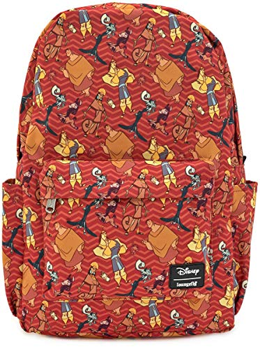 Loungefly x Disney Emperor's New Groove Character Print Nylon Backpack (Red Multi, One Size)