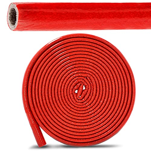 PE-Rohrisolierung Isolierschlauch 10 m Rolle x Ø 35 mm / 6 mm Isolierstärke Rot | Schutzschlauch Heizungsrohr Isolierung mit Schutzhaut | Rohr Dämmung Schlauch Rohrdämmung Warmwasserleitung Heizung