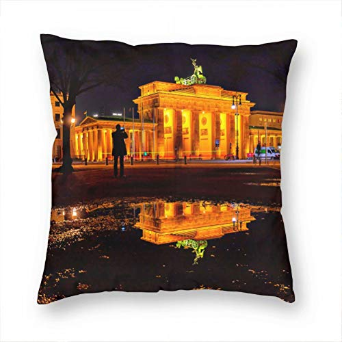 Germany Berlin Brandenburg Gate Pillow Case Decorative Cushion Cover Pillowcase Sofa Chair Bed Car Living Room Bedroom Office 18'x 18' KXR-2216