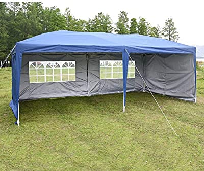charaHOME 10 x 20 ft Heavy Duty Ez Pop Up Gazebo Canopy Tent for Outdoor Waterproof Party Wedding Exhibition Pavilion BBQ Beach with 4 Removable Sidewalls (Blue