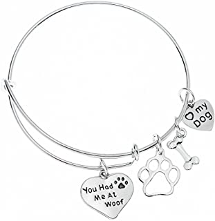 Infinity Collection Dog Charm Bracelet - Paw Print Jewelry- Dog Lovers Bracelet- Dog Owner Bangle for Dog Lovers