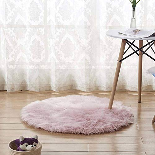 N-B Round Soft Faux Sheepskin Fur Area Rugs For Bedroom Living Room Floor Shaggy Silky Plush Carpet White Faux Fur Rug Bedside Rugs