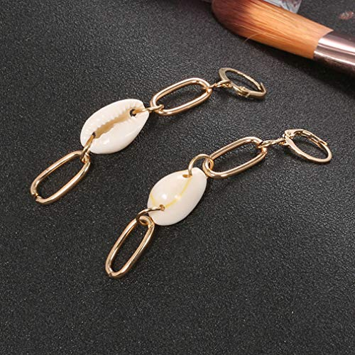 Mvude - Pendientes con Forma de Concha, de Metal, con Borla geométrica, con Perlas, para la Playa