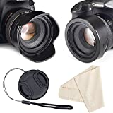 58mm Reversible Tulip Flower Lens Hood Set, Unique Design Camera Lens Hood for Canon Nikon Sony DSLR + Center Pinch Lens Cap with Cap Keeper Leash + Microfiber Cleaning Cloth