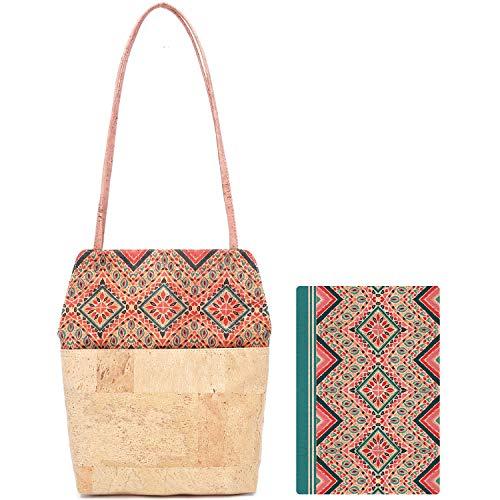 MENKAI-Bolso de Hombro o de Mano para Mujer con Dos Asas, Bolso de Corcho,Bolso de Hombro/Libreta de notas tamaño A5, Conjunto de 2pc, diseño único