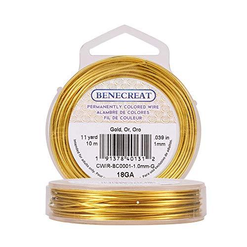 BENECREAT, Filo di rame colorato in modo permanente, Oro, 18-Gauge (10 m)