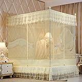 Mosquitera Tipo de cama Tres puertas Cremallera cuadrada Palacio Mosquitera 1.2m 1 5m 1.8m Cama Anti caída Mosquitera Beige + tubo de pintura 180 * 200