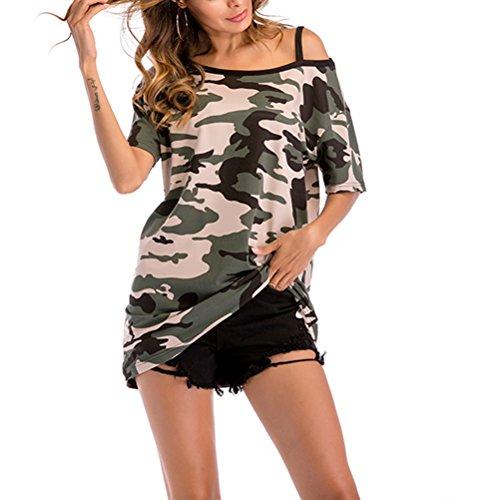 OULII Les Femmes à la Mode Camouflage Hors épaule T-Shirt Long T-Shirts lâches de Grande Taille (Camouflage Vert) -Size XXL