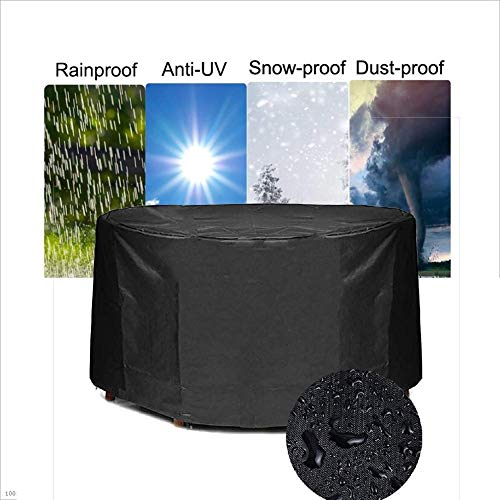 LBBZJM Garden Furniture Cover Garden Furniture Covers Patio Table Chair Cover 300D Oxford Fabric Dust-proof Waterproof Outdoor Round Protective Cover,35 Size (Color : Black, Size : 200X95CM)