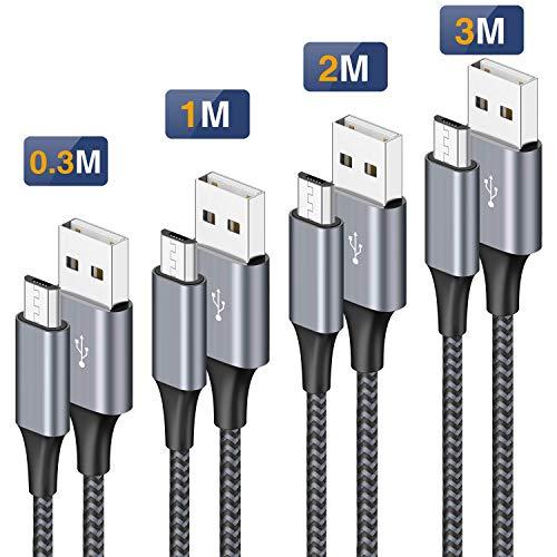 petit un compact Câble micro USB, [0.3m 1m 2m 3m/Lot de 4] Chargeur micro USB tressé en nylon avec chargement rapide…
