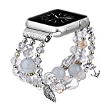 TOROTOP Bracelet Compatible for Apple Watch Band 44mm/42mm Women Girl,Series 6 Handmade Fashion Elastic Beaded with Rose Gold Stainless Steel Adapters Strap Compatible for iWatch 42mm 44mm Series 5/4/3/2/1