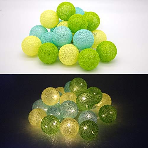 Tronje LED 20 Bolas de Algodón Luces 6cm 4h Temporizador 3,8m Guirnalda de luz Amarillo-Verde funciona con Pilas
