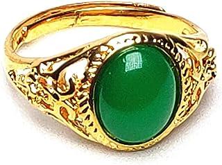 yigedan Women 14K Gold Natural Green Jade Ring Jewelry