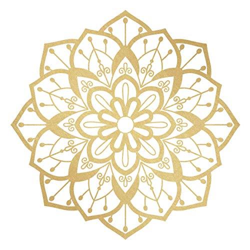 Bilderwelten Wandtattoo Marken-Folie - Mandala Blüte Muster Gold weiß 40 x 40cm